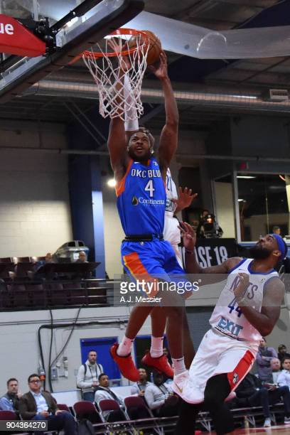 Myke Henry of the Oklahoma City Blue shoots the ball against the Long Island Nets at NBA G League Showcase Game 18 on January 12 2018 at the Hershey...