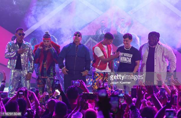 Myke Towers Rauw Alejandro Daddy Yankee Lunay Guaynaa and Sech perform on stage during Premios Juventud 2019 at Watsco Center on July 18 2019 in...