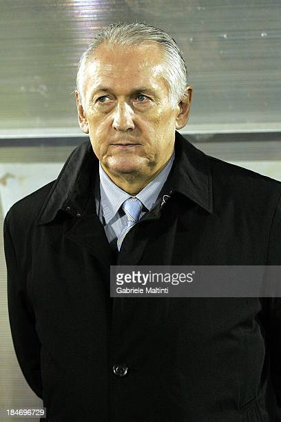 Mykhailo Fomenko head coach of Ukraine looks during the FIFA 2014 World Cup Qualifier Group H match between San Marino and Ukraine at Serravalle...