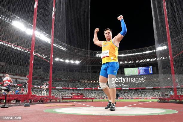 Mykhaylo Kokhan of Team Ukraine competes in the Men's Hammer Throw Final on day twelve of the Tokyo 2020 Olympic Games at Olympic Stadium on August...