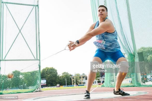 Mykhaylo Kokhan of Ukraine compete during Men's Hammer Throw Final during 2021 European Athletics U23 Championships - Day 2 at at Kadriorg Stadium on...