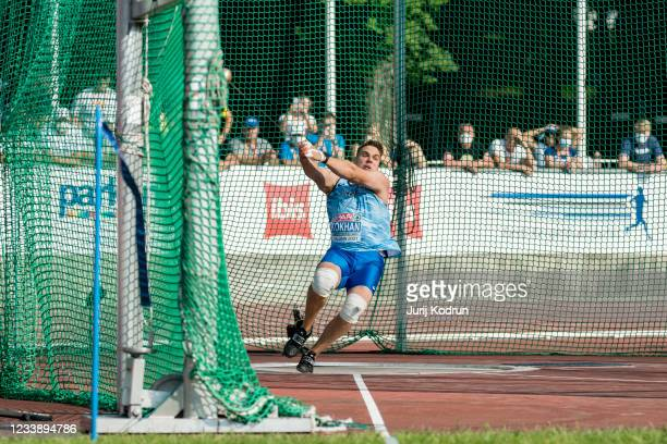 Mykhaylo Kokhan of Ukraine competes durig Men's Hammer Throw Final during 2021 European Athletics U23 Championships - Day 2 at Kadriorg Stadium on...