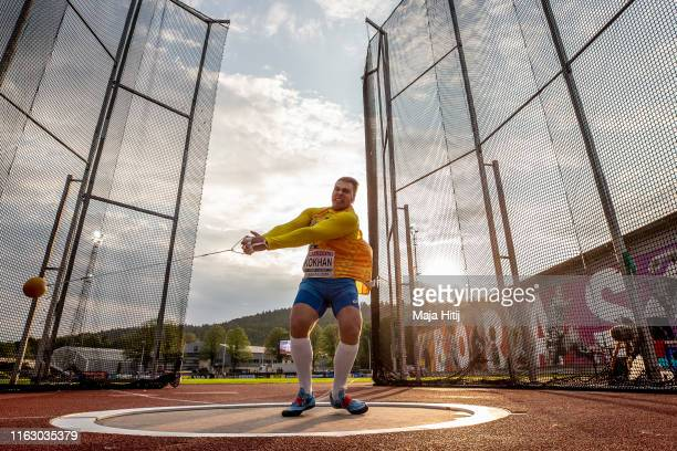 Mykhaylo Kokhan of Ukraine competes during Hammer Throw Men Final on July 19, 2019 in Boras, Sweden.