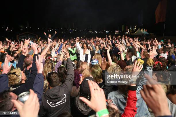 Mykki Blanco jumps into the crowd asking them to form a circle at Body Soul Festival at Ballinlough Castle on June 25 2017 in Co Westmeath Ireland