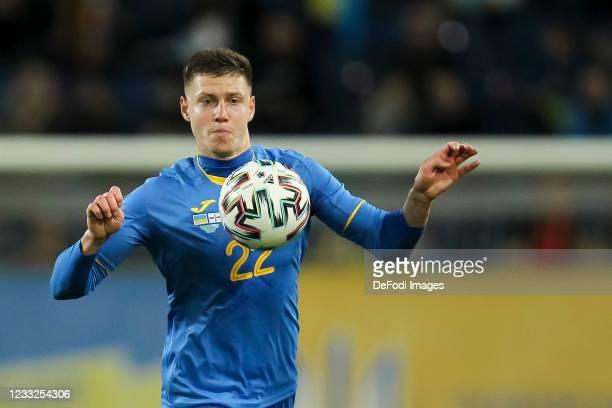 Mykola Matvienko of Ukraine controls the ball during the international friendly match between Ukraine and Northern Ireland at Dnipro-Arena on June 3,...
