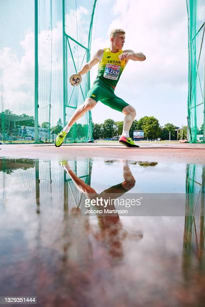Mykolas Alekna of Lithuania competes in the Men's Discus Throw Final during European Athletics U20 Championships Day 4 at Kadriorg Stadium on July...