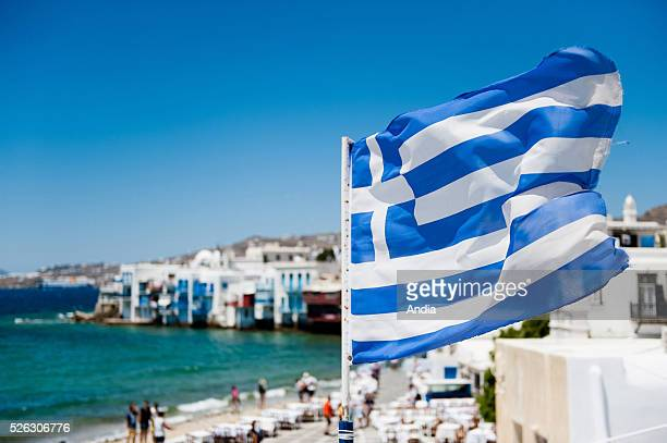 island belonging to the Cyclades archipelago Greek flag symbol of the Hellenic Republic