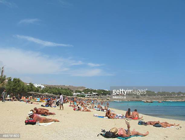 mykonos paraga beach - naturism stock photos and pictures