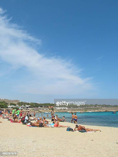 mykonos paraga beach - naturist couple stock pictures, royalty-free photos & images