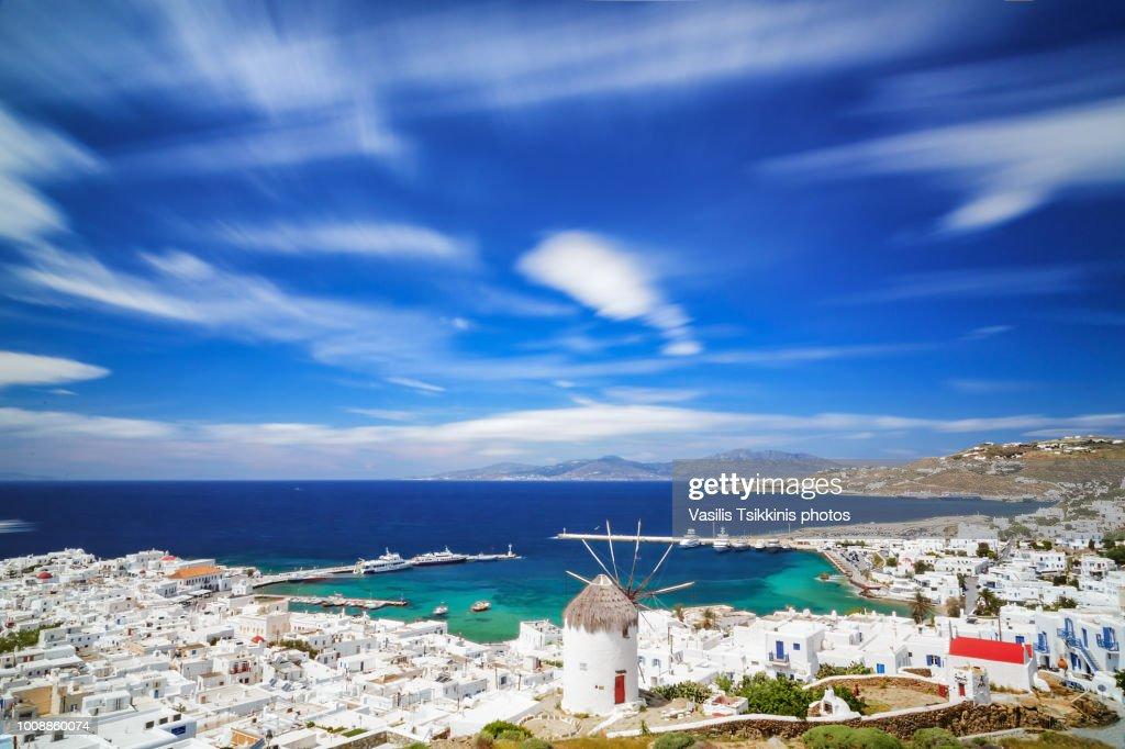 Mykonos Town long exposure : Stock Photo