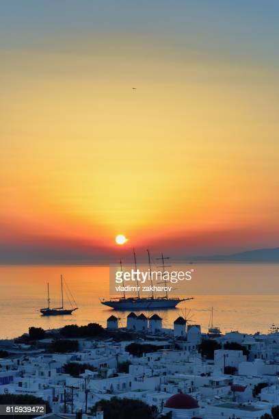 Mykonos Town view at sunset