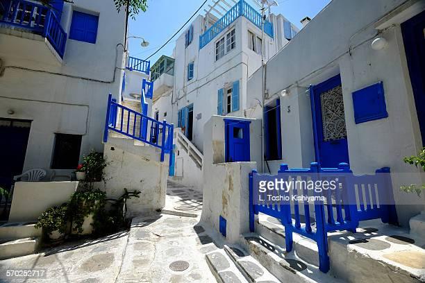 Mykonos village colors in Greece