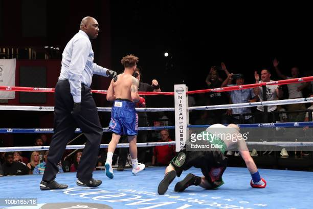 Shelly Vincent trades punches witht Calixta Silgado at Foxwoods Resort Casino on July 21 2018 in Mashantucket Connecticut Vincent would win by...