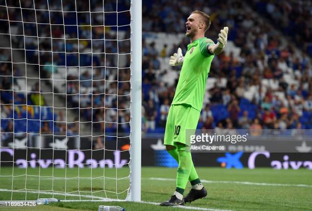 Mykyta Shevchenko of Zorya Luhansk celebrates after saving a penalty during the UEFA Europa League Play Off match between Espanyol and Zoryan Luhansk...