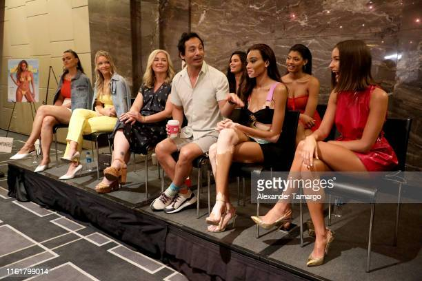 Myla Dablasio Halima Aden Anne de Paula Olivia Culpo Camille Kostek Mj Day Yu Tsai Winnie Harlow and Danielle Herrington speak during Sports...