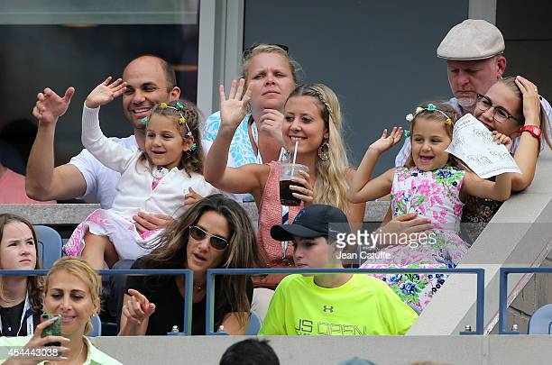 Myla Federer and Charlene Federer Roger Federer's twins cheer for their during his match on Day 7 of the 2014 US Open at USTA Billie Jean King...