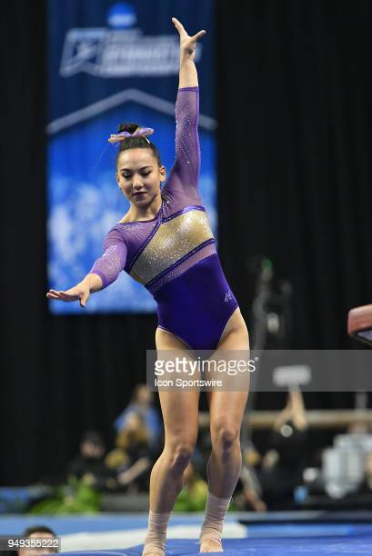 Myla Hambrick of LSU works to keep her balance after dismounting the vault during the NCAA Women's Gymnastics National Championship first round on...