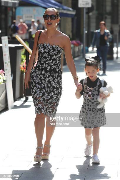 Myleene Klass and daughter Ava Bailey Quinn seen arriving at Smooth Radio Studios on June 1 2017 in London England