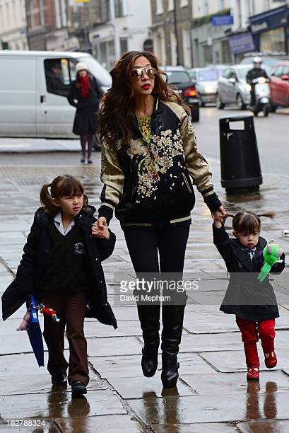 Myleene Klass and daughters sighted in Highgate on February 27 2013 in London England