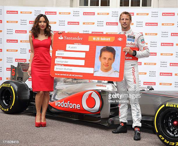 Myleene Klass and Jenson Button attend a photocall to launch Santander's 1625 Railcard at British Medical Association on June 26 2013 in London...