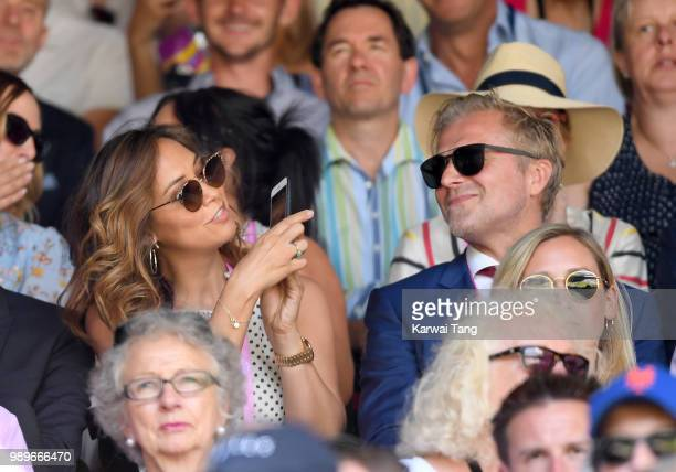Myleene Klass and Simon Motson attend day one of the Wimbledon Tennis Championships at the All England Lawn Tennis and Croquet Club on July 2 2018 in...