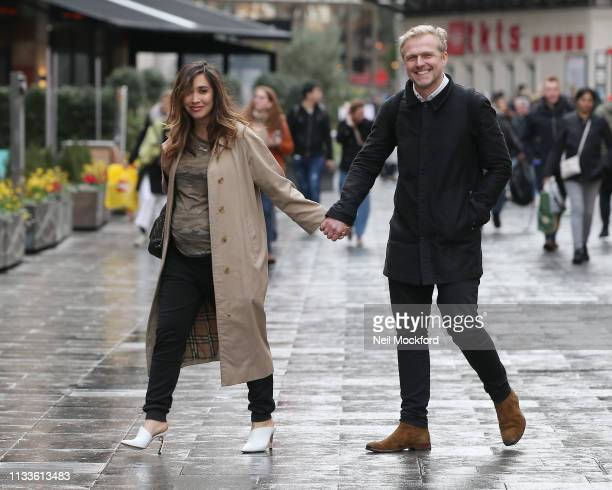Myleene Klass and Simon Motson seen arriving at Global Radio Studios after having lunch at Wagamama on March 04 2019 in London England