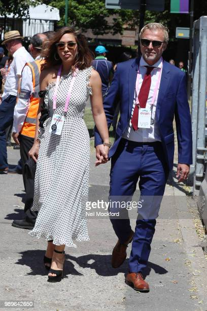 Myleene Klass and Simon Motson seen arriving at Wimbledon Day 1 on July 2 2018 in London England