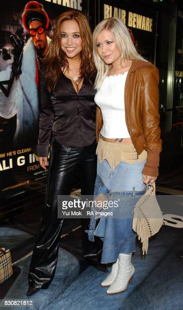 Myleene Klass and Suzanne Shaw from pop group Hear'Say arriving at the Empire Cinema in London's Leicester Square for the premiere of Ali G InDaHouse