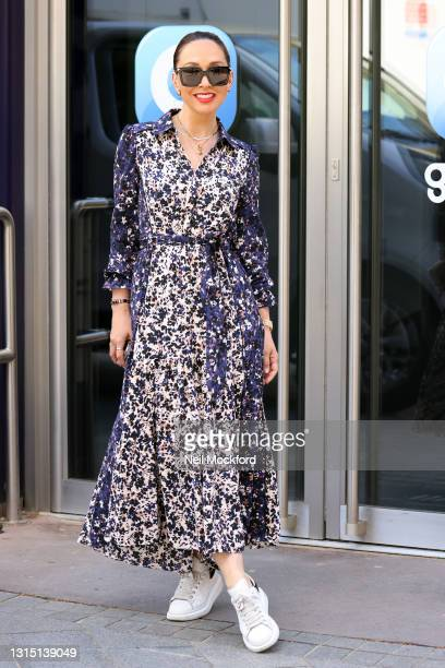 Myleene Klass arriving at Smooth Radio Studios on April 29, 2021 in London, England.