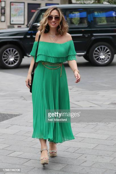 Myleene Klass arriving at Smooth Radio Studios on August 14, 2020 in London, England.