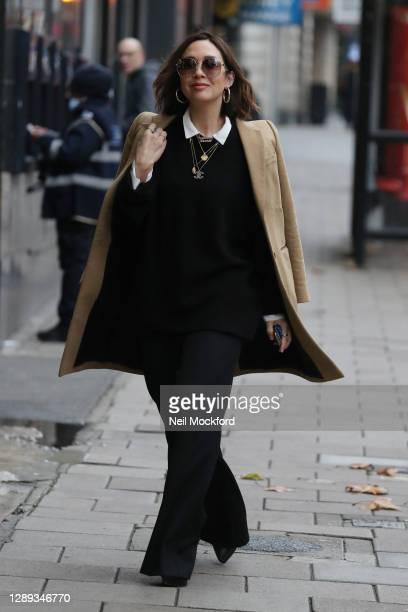 Myleene Klass arriving at Smooth Radio Studios on December 04, 2020 in London, England.