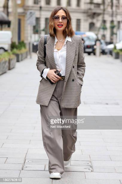 Myleene Klass arriving at Smooth Radio Studios on February 18, 2021 in London, England.