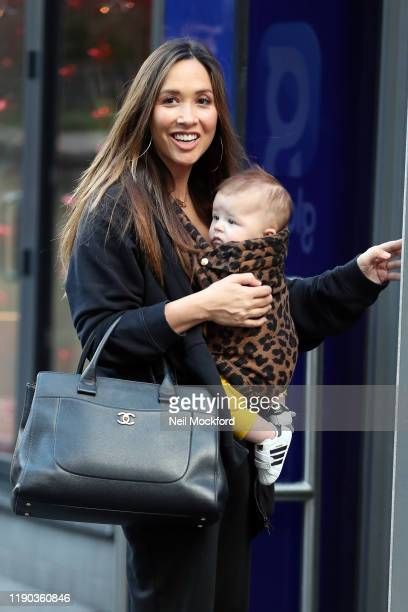 Myleene Klass arriving at Smooth Radio studios with her son Apollo on November 27, 2019 in London, England.