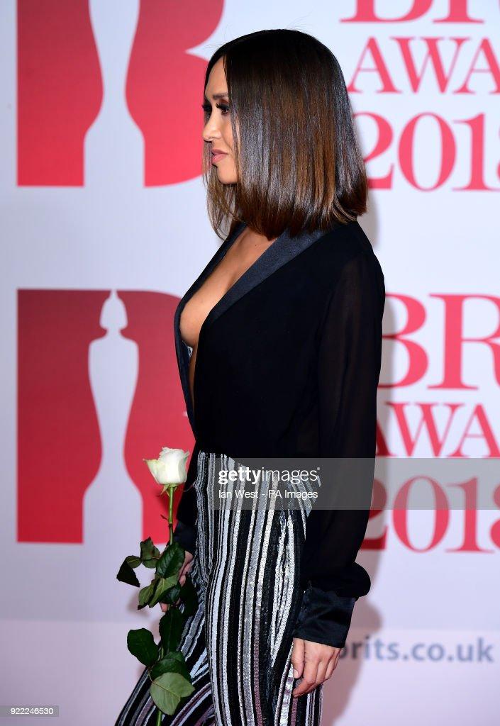 Myleene Klass attending the Brit Awards at the O2 Arena, London.