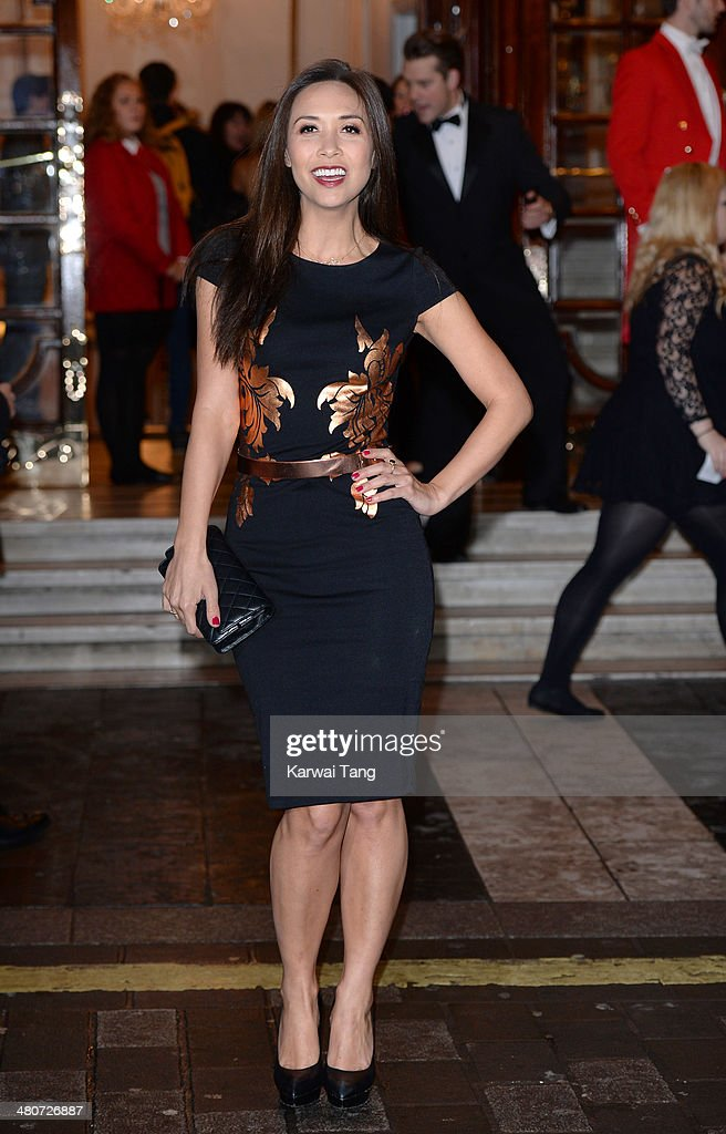 Myleene Klass attends the press night of 'I Can't Sing! The X Factor Musical' at London Palladium on March 26, 2014 in London, England.