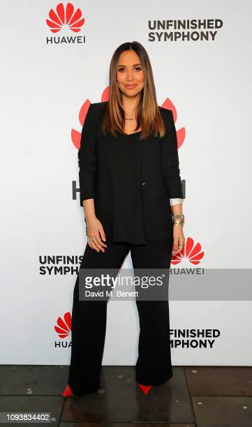 Myleene Klass attends the reveal of Huawei's, Unfinished Symphony at Cadogan Hall on February 4, 2019 in London, England.