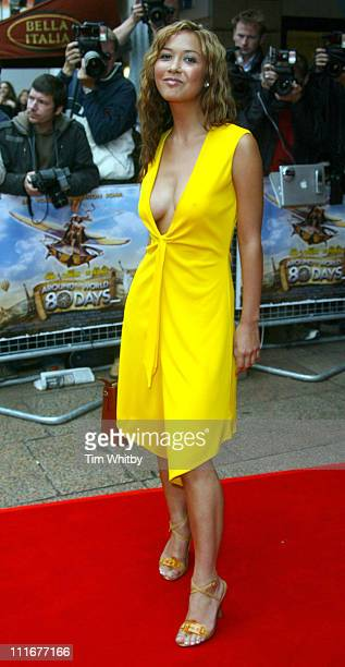 Myleene Klass during Around the World In 80 Days European Premiere Arrivals at Vue West End Leicester Square in London Great Britain