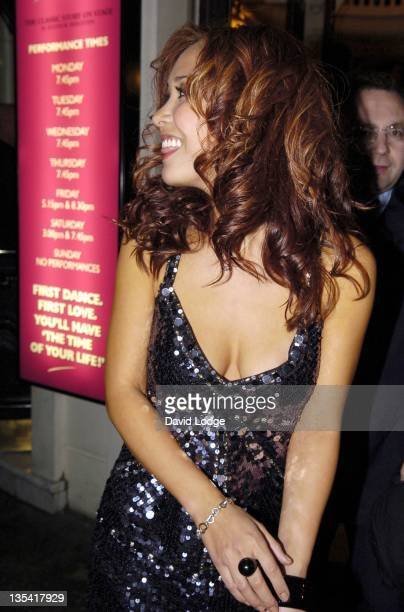 Myleene Klass during Dirty Dancing The Classic Story on Stage Arrivals at Aldwych Theatre in London Great Britain