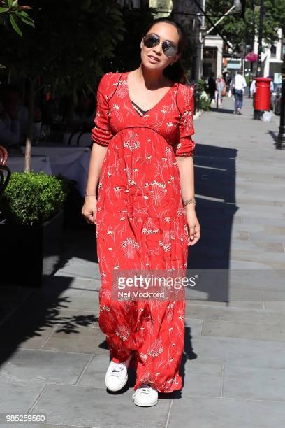 Myleene Klass having lunch with Carol Vorderman at Scott's restaurant in Mayfair on June 27 2018 in London England