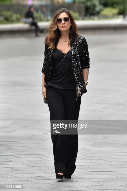 Myleene Klass is seen outside Global Radio on Global's Make Some Noise Emergency Appeal Day on June 19, 2020 in London, England.
