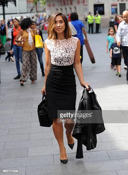 Myleene Klass leaves Global House on August 12 2015 in London England