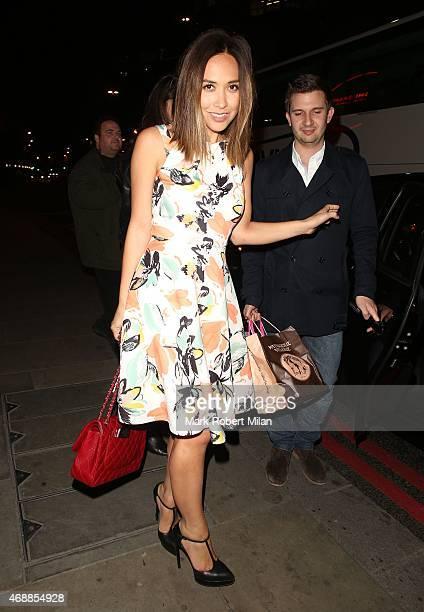 Myleene Klass leaving Sushi Samba restaurant on April 7 2015 in London England