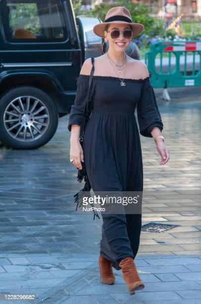 Myleene Klass seen arriving at Global Studios, Smooth Radio London, UK on 1 September 2020.