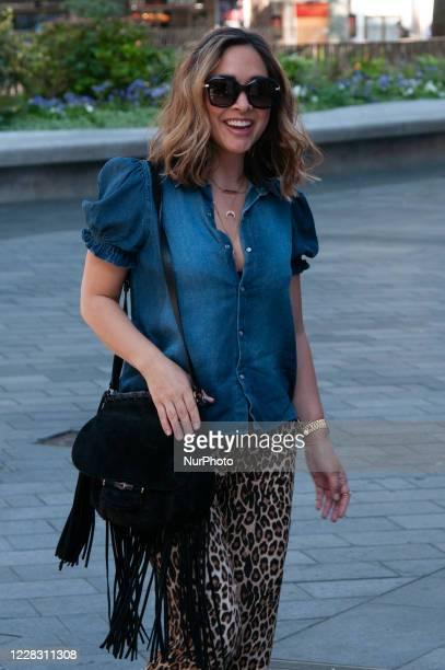 Myleene Klass seen arriving at Global Studios, Smooth Radio London, UK on 2 September 2020.