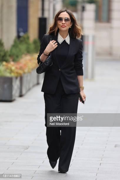 Myleene Klass seen arriving at Smooth Radio Studios on April 08, 2021 in London, England.