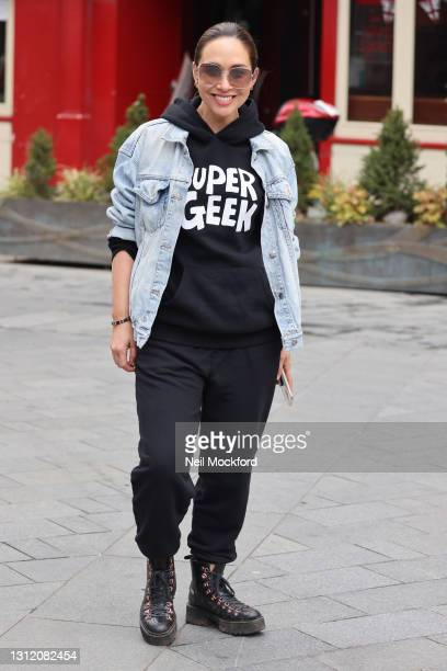 Myleene Klass seen arriving at Smooth Radio Studios on April 12, 2021 in London, England.