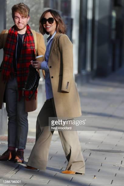 Myleene Klass seen arriving at Smooth Radio Studios on December 1, 2020 in London, England.