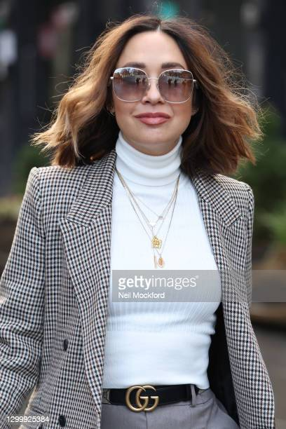 Myleene Klass seen arriving at Smooth Radio Studios on February 02, 2021 in London, England.