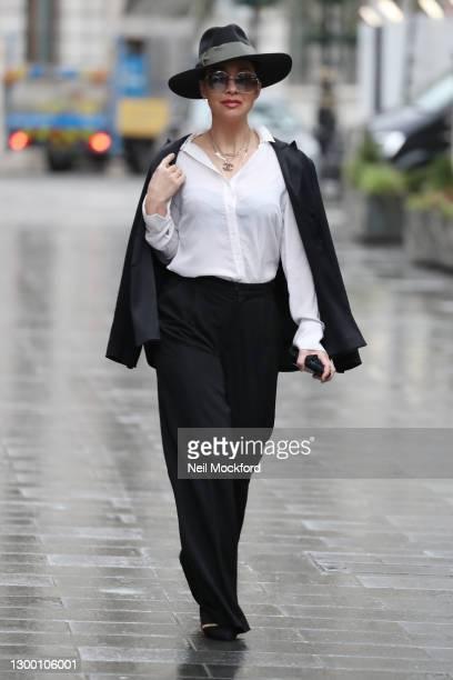 Myleene Klass seen arriving at Smooth Radio Studios on February 03, 2021 in London, England.