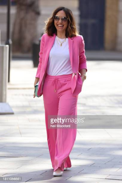 Myleene Klass seen arriving at Smooth Radio Studios on her 43rd birthday on April 06, 2021 in London, England.